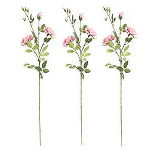 queenland Artificial Flowers, Fake Flowers Silk Artificial Roses 3 Heads Bridal Wedding Bouquet for Home Bedroom Garden Party Wedding Decoration Pack of 3,Height 36 inch 48