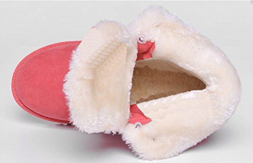 Baymate Mujer Botas Otoño Invierno Botas de Nieve Caliente Aire Libre Deportes Zapatilla Alta Botines Sandía Roja