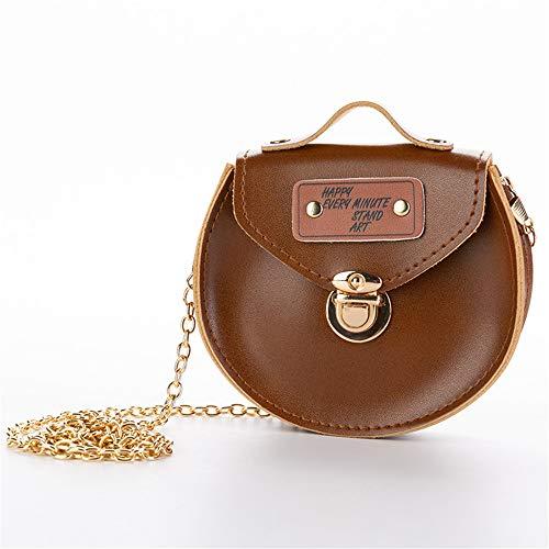JUNWEISPIN Little Girl Cute Crossbody Bag - Baby Mini Cute Princess Tote Shoulder Crossbody Bag PU Leather Shoulder Bag Gift (Brown)]()