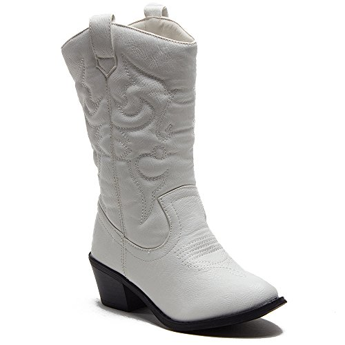 Ositos Kids Girls BDW-14 Tall Stitched Western Cowboy Boots, White, 11