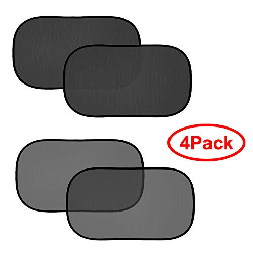 FIRSFOR Car Sun Shade(4 Pack)-2 Transparent and 2 Semi-Transparent 20''x12'' Sunshades for UV Rays Protection