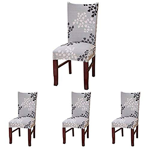 ColorBird Plant Series Spandex Dining Chair Slipcovers Removable Universal Stretch Chair Protective Covers for Dining Room, Hotel, Banquet, Ceremony (Set of 4, Grey Leaf)