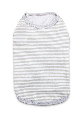 Plain Dog Shirt (DroolingDog Small Dog Clothes Cat Pajamas Plain Stripe Cotton T-shirt, Medium, Grey)