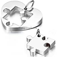 Gydoxy(TM) 1 pair Necklaces Heart Puzzle Stainless Steel necklace for women men couples collares 3 colors selection[Silver]