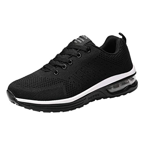 UOKNICE Couple Models Flying Woven Mesh Shoes Lace-up Casual Running Shoes Gym Student Sports Sneaker(Black, CN 35(US 5))