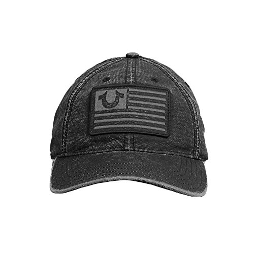 True Religion Men's Italian Washed Ball Cap, Black, One Size