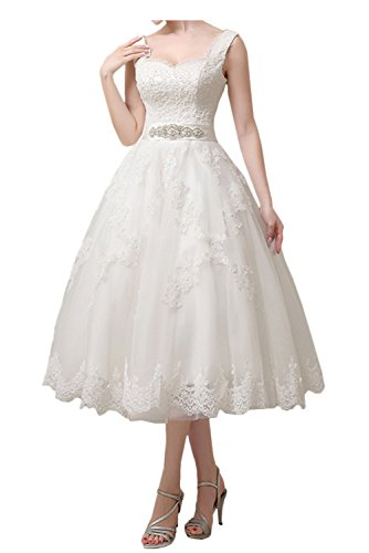 Wedding Party Dress, Tea Length Lace Boat Neck Sleeveless Prom Party Dress for Women-White-14 ()