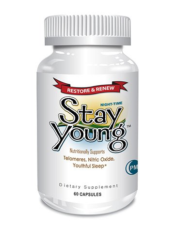 Stay Young PM - 60 Vegan capsules - for Natural Sleep, Energy, Cardiovascular and Telomere Support - Plant Powered with Astragalus Root, B12, CoQ10, Beet Root Extract