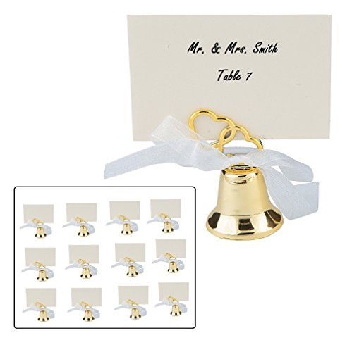 Gold Bell Place Card Holders - Zugar Land Gold Two Heart Wedding Bell Place Card Holders (12 Pack) Metal. (36)