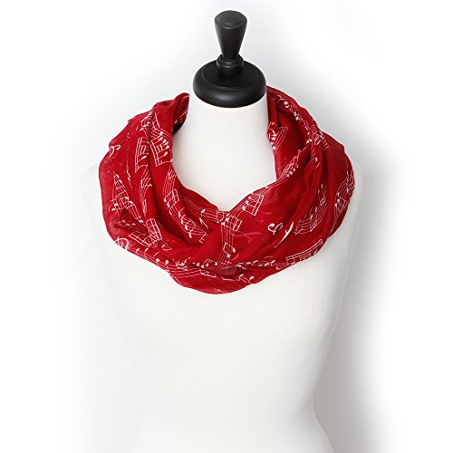 KnitPopShop Music Note Infinity Loop Scarf for Women in the Summer (Red Music Note)