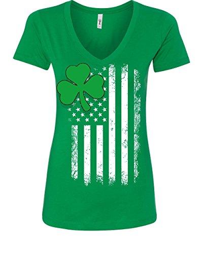 Shamrock Flag Stars and Stripes Women's V-Neck T-Shirt Irish St. Patrick's Day Green XL