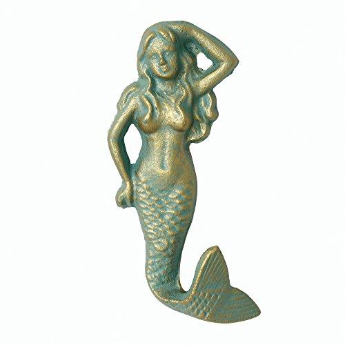 Wall Patina Decor (Stonebriar Patina Mermaid Antique Cast Iron Wall Hook, Decorative Ocean Design)