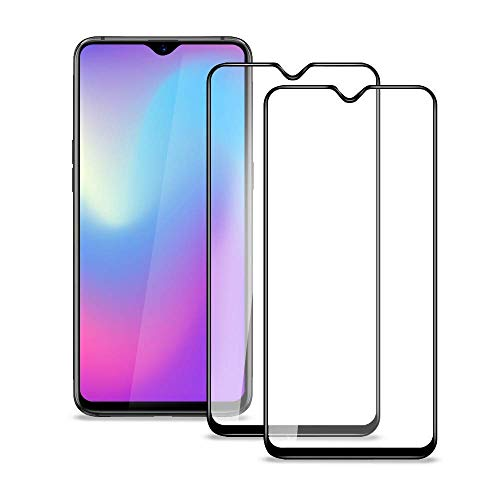 COOLWUFAN Oneplus 6T / Oppo F9 Screen Protector, (2 Pack) HD Tempered Glass Screen Protector Clear with [Full Coverage][9H Hardness] [Bubble-Free] [Scratch Resist] Compatible for Oneplus 6T (Black)