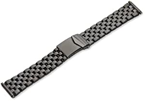 Hadley-Roma Men's MB5188RA SQ 22 22-mm Black Stainless Steel Wrapped Watch Strap