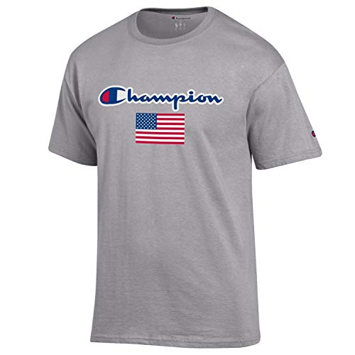 Champion Men's USA/Military Collection-Air Force, Army, Marines-Cotton T-Shirt (XX-Large, USA/Oxford Grey with Champion Script Over USA Flag)