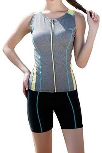 Kisscy Women's Zip Up Active Tankini Swimwear With Boyshort Bikini Set Grey