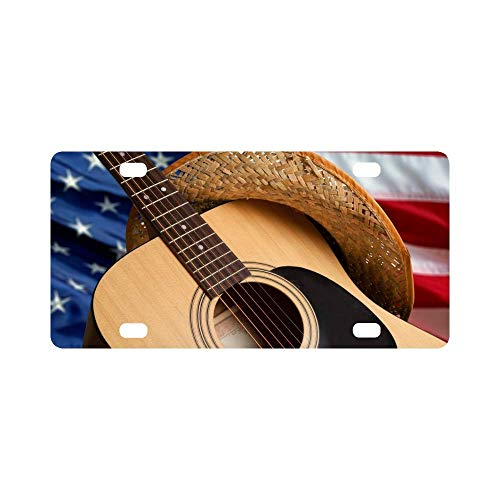 Aoxiananclicensecover License Plate Cover Aluminum Metal Car Licenses Plate Frame Holder for US Vehicles 12 x 6 Inch - Country Music Acoustic Guitar with American Flag Fourth of July