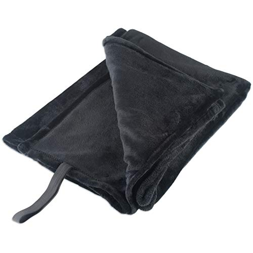 Hebel Fleece Luxury and Soft Lightweight Microfiber Throw Blanket for Travelling BBQ, Compact Size with Elastic Band 36x54 Black | Model BLNKT - 5 | 33, 36x54