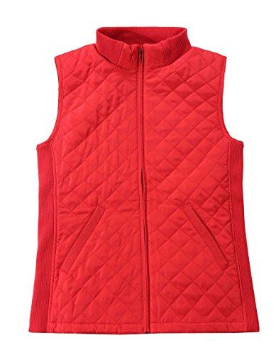 Bienzoe Women Slim Casual Zip Quilted Sleeveless Light Weight Vest Stretch Rib Red XXL (Quilted Vest Women)