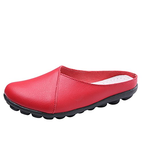 ♡QueenBB♡ Women Casual Peas Shoe,Women Flat Breathable Soft Bottom Wild Leisure Peas Boat Shoes Red ()