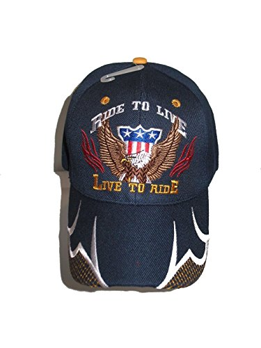 AES Ride to Live Live to Ride USA Eagle Dark Navy Blue Embroidered Baseball Ball Cap Hat