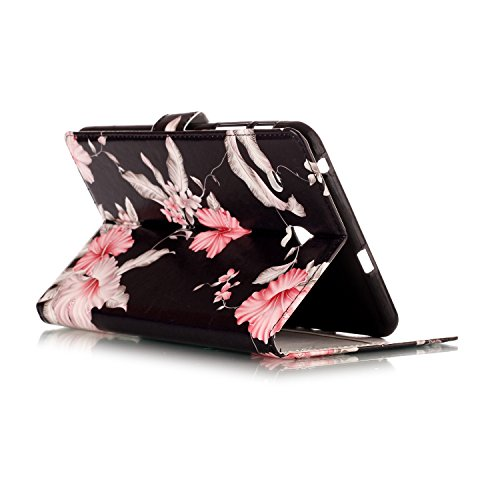 Galaxy T377v/T377a Case,Tab E 8.0'' Case,UUcovers Ultra Slim [Fancy Pattern] PU Leather Flip Stand Case Protective Cover for Galaxy Tab E 8.0 Inch SM-T375/T377a/v/p Tablet-Pink Flower by UUcovers (Image #5)