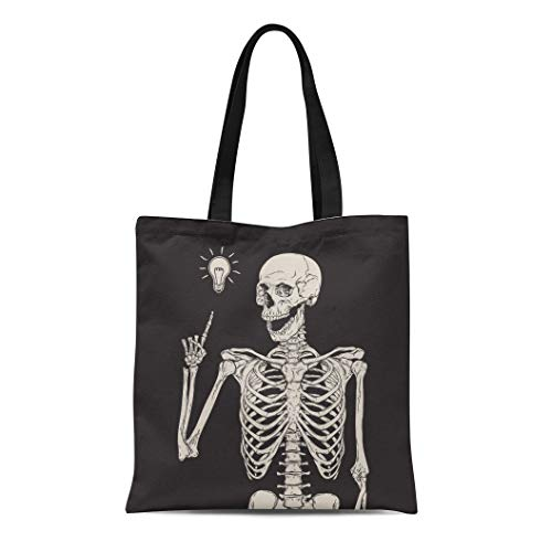 Semtomn Canvas Bag Resuable Tote Grocery Adorable Shopping Portablebags Vintage Human Skeleton Has Idea Over Black Halloween Heavy Drawing Etching Light Natural 14 x 16 Inches Canvas Cloth Tote Bag -