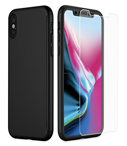 ONTHIS iPhone X Case, 360° Full-Body Protective Dual Layer Ultra Slim Shockproof PC Case Cover with 2 Packs of Tempered...  iphone x cases 360 41Se61RAHtL