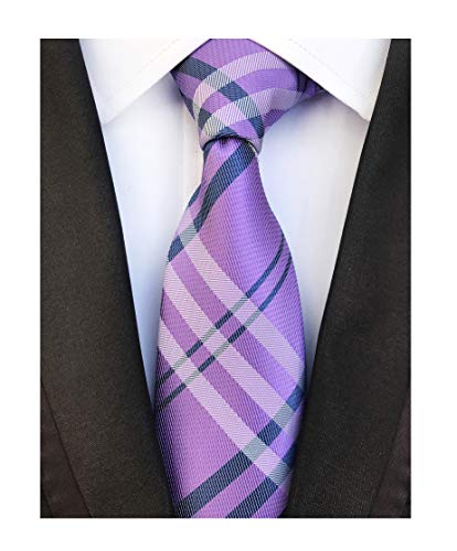 Lilac Purple Navy Gingham Seft Tie Woven Narrow Party Cool Necktie 3.15