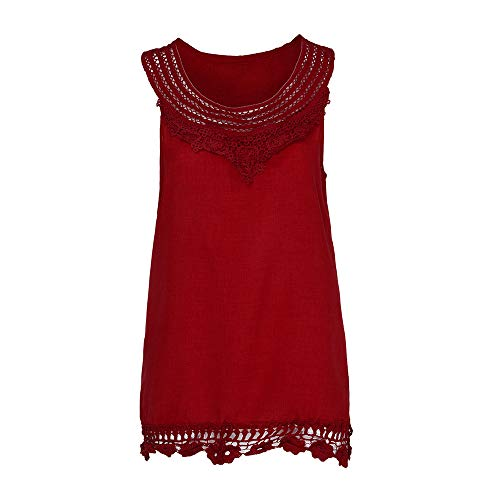 iYBUIA Women O-Neck Sleeveless Pure Color Lace Plus Size Vest Loose T-Shirt Blouse with Hollow Hem Red by iYBUIA (Image #4)