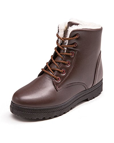 Winter Duberess Brown Snow Women's Sneaker Flat Platform Waterproof Lace Shoes up Boots xrUaBxIwq