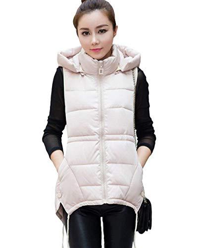 Adelina Gilet Matelass Femme Hiver Elgante Uni Manche Sleeveless Chaud Gilet Manteau Vtements  Capuchon Casual Mode Oversize Coat Vest Jacket Outerwear Beige
