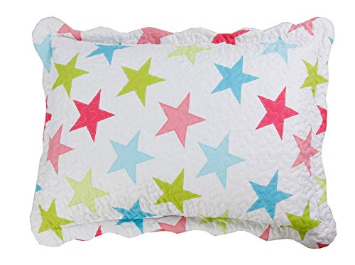 MarCielo 2-Piece Embroidered Quilted Pillow shams, Standard Size, Queen Size (Pink Blue Star)