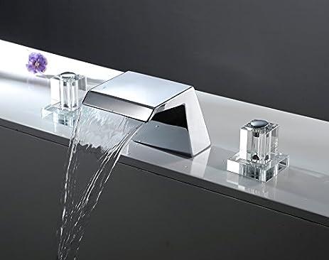 Aquafaucet Crystal Handle Widespread Bathroom Sink Vessel Faucet Lavatory  Vanity Basin Mixer Tap Or Roman Bath