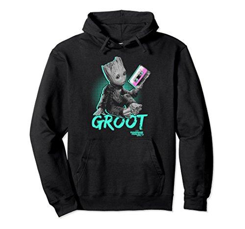 Baby Adult Sweatshirt - Unisex Marvel Guardians Vol. 2 Baby Groot Neon Tape Graphic Hoodie 2XL Black