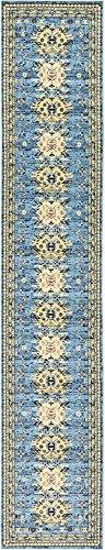 Geometric Persian Design Area rugs Light Blue 2' 11 x 16' 4 Qashqai Heriz rug ()