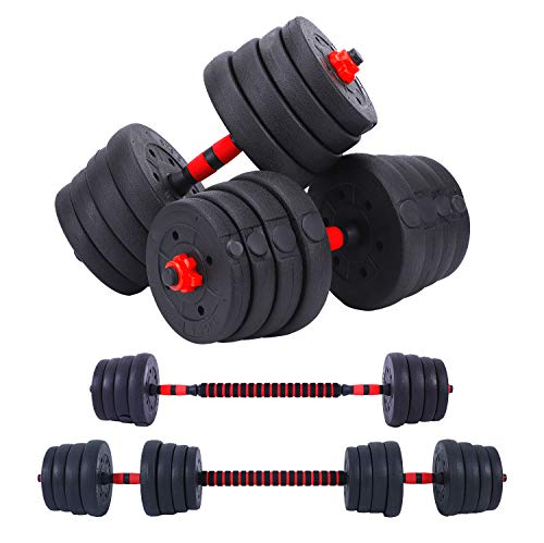 66LB Adjustable Dumbbell Barbell Weight Pair, Free Weights 2-in-1 Set, Non-Slip Neoprene Hand, All-Purpose, Home, Gym…
