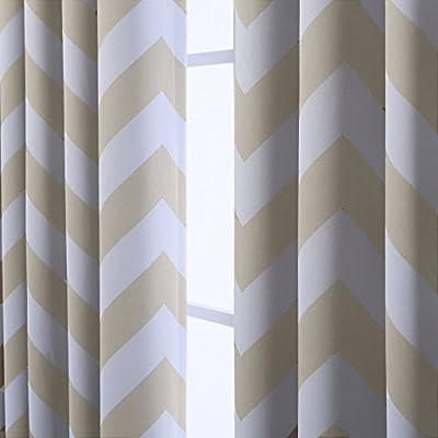 Geometric Printed Room Darkening Blackout Grommet Curtains