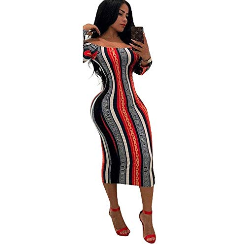 Red Club Notes - Women's Sexy Striped Off Shoulder Cocktail Party Midi Club Skirt Evening Cocktai Dresses (Red, Medium)