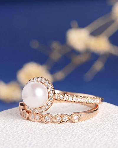 2pcs Pearl Engagement Ring Set,Solid 14k Rose Gold Art Deco Natural 6mm Round Pearl Halo Vintage Antique Women Rings, Half Eternity Marquise Milgrain Diamond Stacking Band Bridal Sets Promise