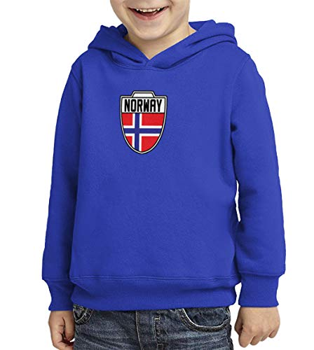 Norway - Country Soccer Crest Toddler/Youth Fleece Hoodie (Royal Blue, Medium (Youth)) ()