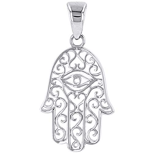 Solid 14K White Gold Filigree Hamsa Hand of Fatima with Evil Eye Charm Pendant