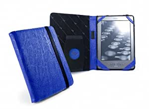 """Tuff-Luv Embrace case cover for Amazon Kindle 4 / 6"""" E-Ink (Latest) 6"""" / 15 cm Book Style - 'Electric' Blue"""