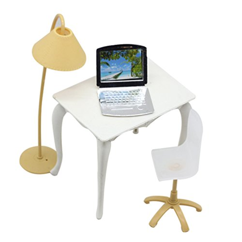 Floralby Doll House Furniture Miniature Office Table Chair Laptop Lamp Kids Collection Toy Random Color