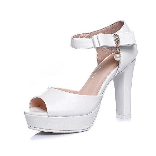 Amoonyfashion Mujeres High-heels Material Suave Solid Hebilla Peep Toe Sandalias Con Arcos Blancos