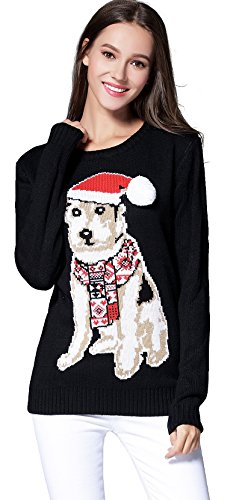 Puppy For Christmas Present - Women's Christmas Cute Puppy Dog Print Knitted Sweater Girl Pullover (Small, Black)