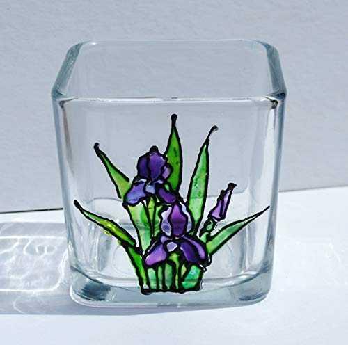 Beautiful Purple Iris - Purple Iris Flower Stained Glass Square Hand Painted Candle Holder