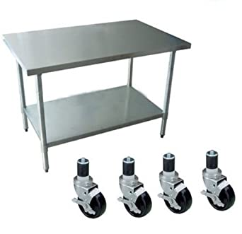 "DuraSteel Worktable Stainless Steel Food Prep 24"" Height With 4 Caster Wheels Work Table- Commercial Grade Work Table - Good For Restaurant, Business, Warehouse, Home, Kitchen, Garage"