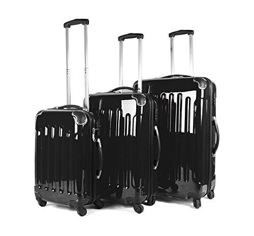 Negro Set de 3piezas–4Ruedas de maletas–Carcasa rígida Poly Carb PC bolsa