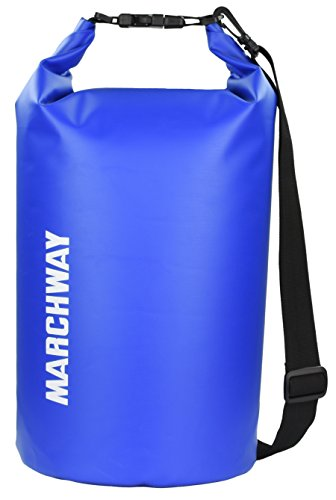 MARCHWAY Floating Waterproof Dry Bag - Protect your Items Safe, Dry, Clean from Kayaking, Rafting, Boating, Camping, Beach, Fishing (Dark Blue, 20L)